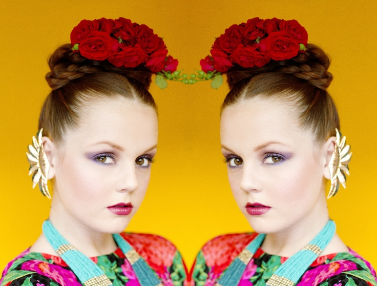 "Cinco de Mayo editorial, Spanish and Mexican inspired fashion photo shoot, colorful, bright, mixed patterns, floral headbands, flowers in hair, Frida Kahlo inspired shoot, Photo by Hannah Lux Davis for ""Hey! Shiny Objects!"""