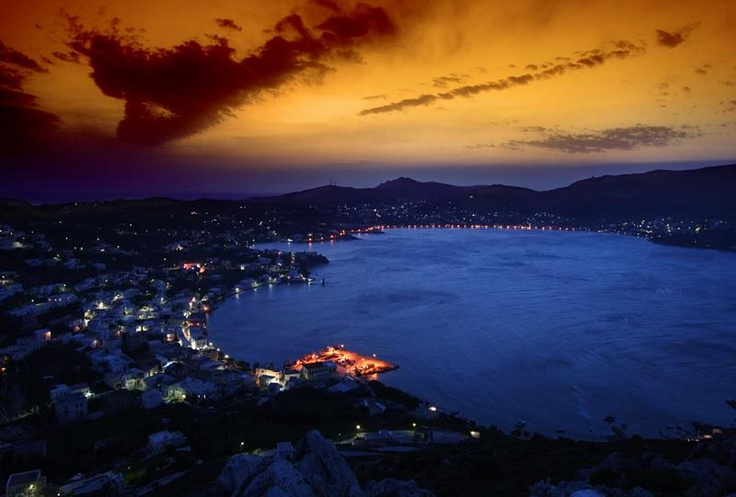 Leros island by night