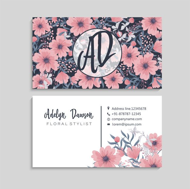 Download Dark Business Card With Beautiful Flowers For Free Floral Business Cards Free Business Card Templates Vector Free