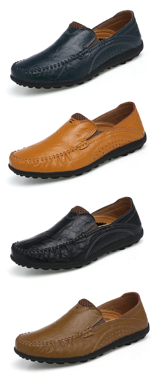 Men Color Match Slip On Leather Breathable Driving Casual Shoes