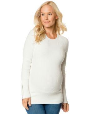 A Pea In The Pod Maternity Zip-Cuff Sweater - White L
