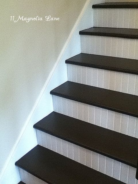 stairs with beadboard risers...like this idea for my basement stairs!