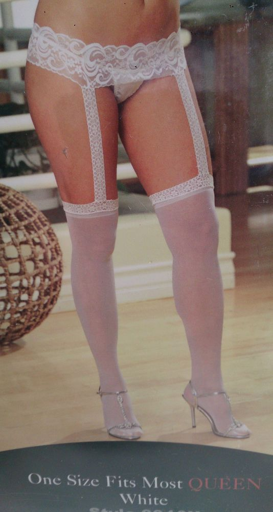 Sheer Garterbelt Pantyhose, Queen Size, White Lace, Dreamgirl Lingerie