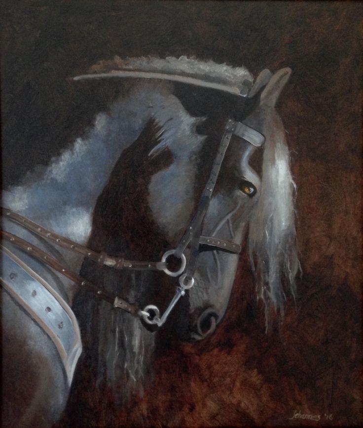 Friesian horse, oil on panel 50 x 60 cm.  2016  Jehannes Hoogeveen