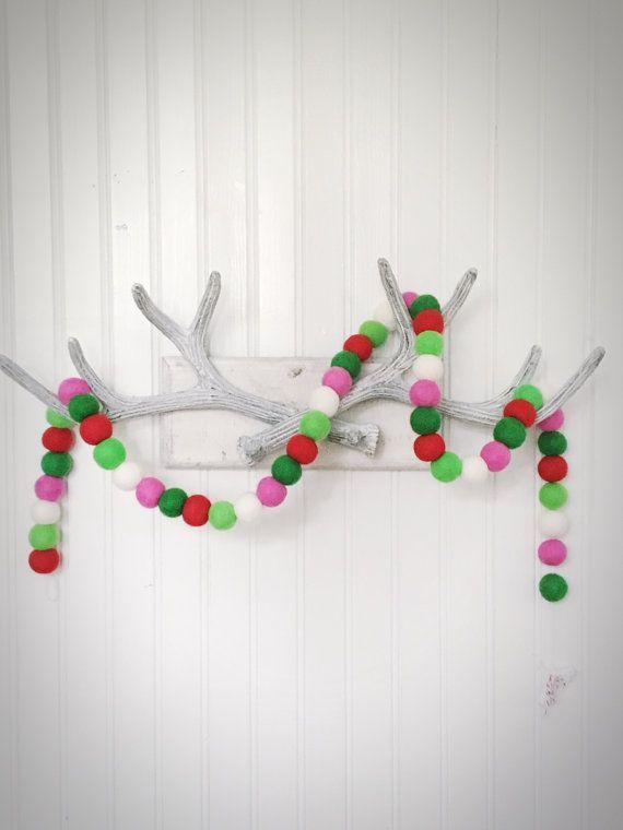 Christmas Felt Ball Garland Pom Pom Garland by simpledetailsdesign