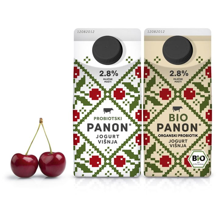 Panon® domestic pro-biotic yogurt and BioPanon® organic pro-biotic yogurtwith Cherry fruits.