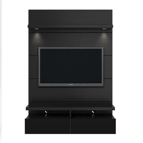 Cabrini 1.2 Floating Wall Theater Entertainment Center in Black Gloss and Black Matte - Simply Stand