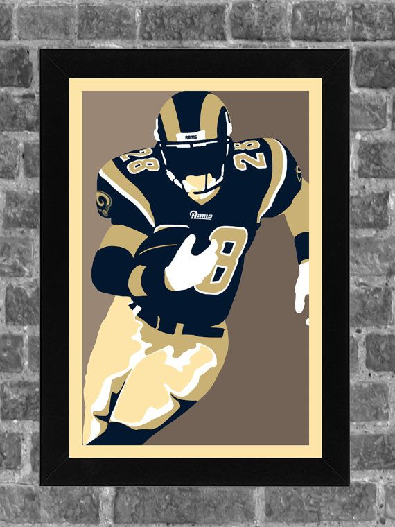 St Louis Rams Marshall Faulk Portrait Sports Print Art 11x17