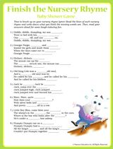 """Finish the Nursery Rhyme"" printable baby shower game"