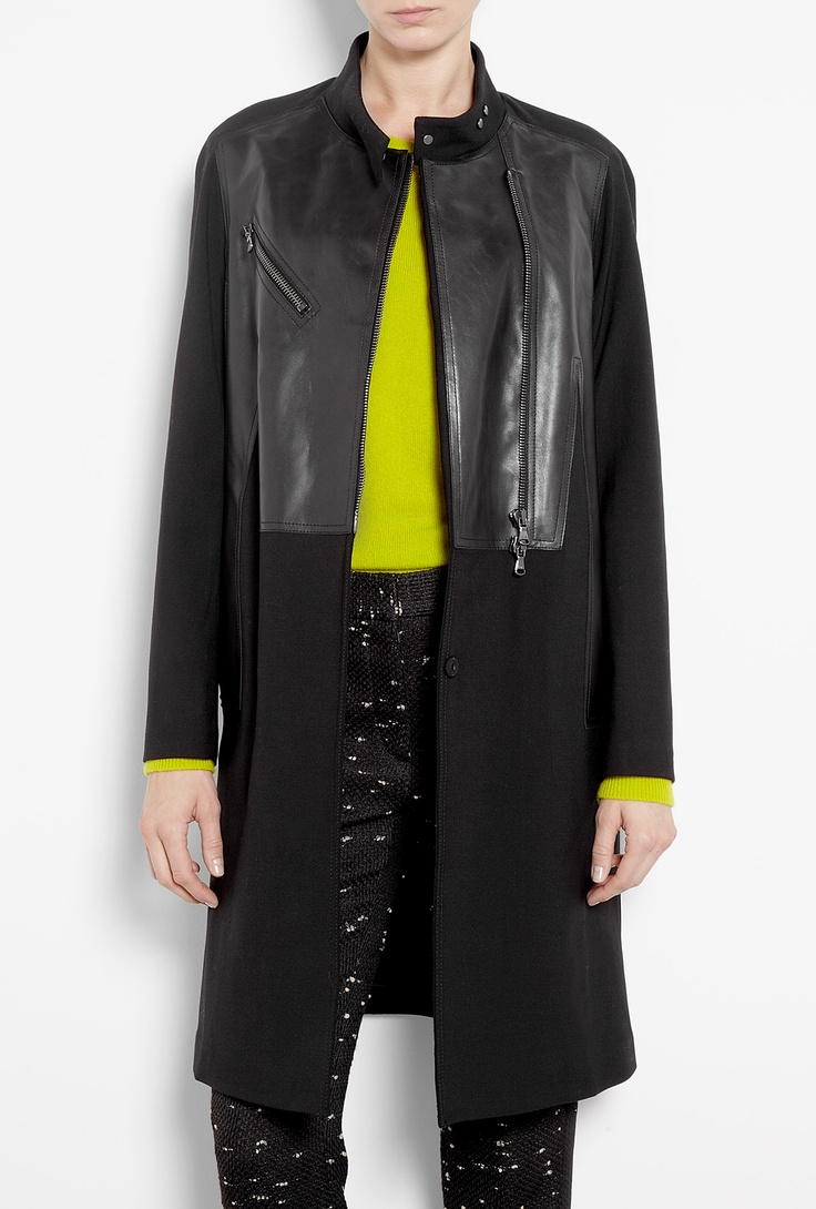 Wool Coat With Trompe L'Oeil Leather Motorcycle Jacket by 3.
