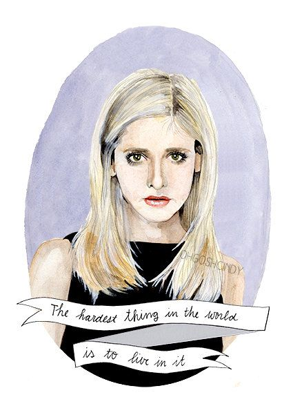 Buffy the vampire slayer watercolor portrait print for Buffy angel tattoo