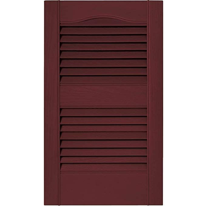Builders Edge 12 In Vinyl Louvered Shutters In Wineberry Set Of 2 12 In W X 1 In D X 60 In H 6 2 Lbs Review With Images Vinyl Exterior Shutters Exterior Builders Edge