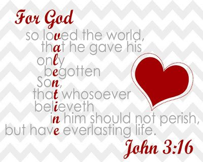 John 3:16 Free Printable