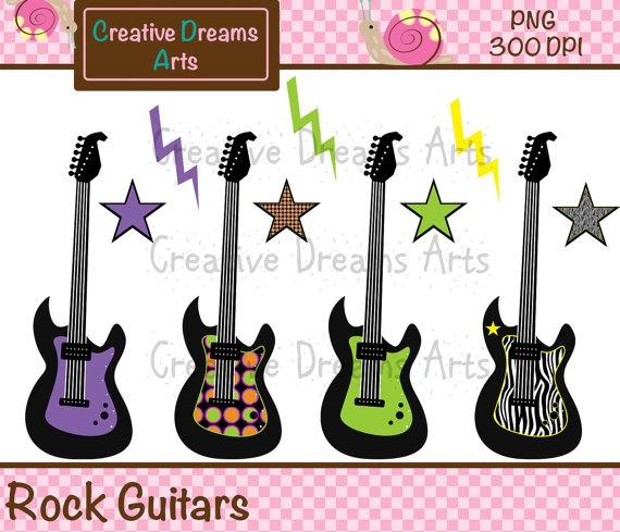 Rock Guitar Digital Clip Art Instant Download