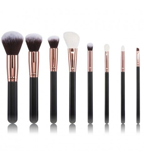 - Exclusive, Specially selected Rose Gold Brushes. Set includes 8 exclusive handcrafted brushes to cover up your daily makeup routine, including a stylish bag so this set is a must for a makeup inspired. Made of high quality natural hair and synthetic taklon bristles, so it can be used with cream and powder based products. #rosegold #makeupbrushes #makeup #mua #cosmetics