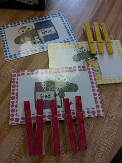 The Crazy Pre-K Classroom: Clothespin Color Matching, Counting and Addition Center