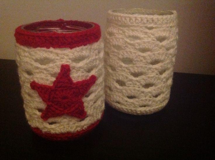 Crochet jar of: omgehaakte potjes.
