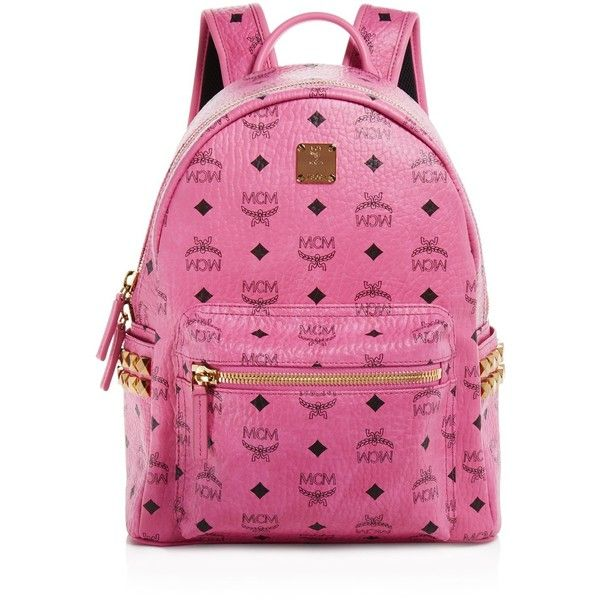Mcm Backpack - Stark Side Stud Small ($770) ❤ liked on Polyvore featuring bags, backpacks, pink, mcm backpack, backpacks bags, pink studded backpack, studded bag and pink studded bag