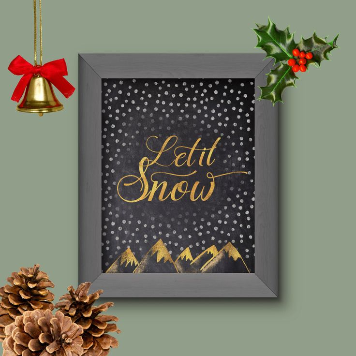 Let it Snow, Chalkboard and Gold Foil, Festive Wall Art, Gold Foil, Instant Download, Printable, Decor, Christmas Decor, 300DPI, JPEG by DesignableSupplies on Etsy