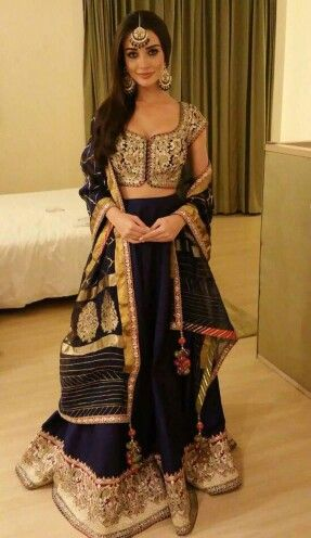 Amy Jackson looked effortlessly elegant in a lehenga by Rimple and Harpreet Narula Couture recently.