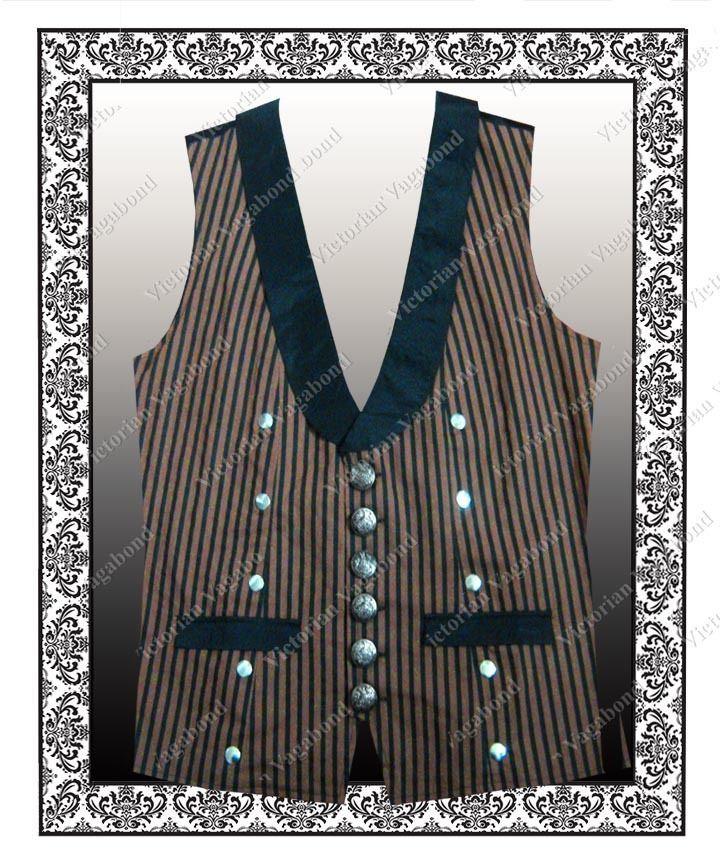 Steampunk Mens Brown Stripe Vest  Victorian Gothic Edwardian Waistcoat  XL / XXL #VictorianVagabond
