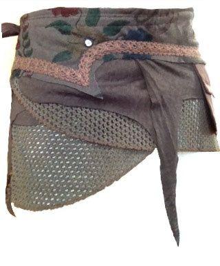 dark BROWN elf pocket psytrance PIXIE SKIRT ethnic goa velcro wrap. £44.50, via Etsy.