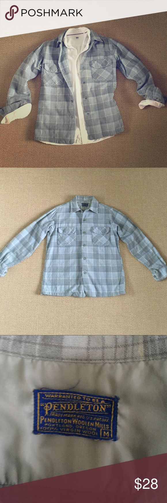 Men's Pendleton Plaid Wool Shirt This vintage men's Pendleton shirt can be warn as a light jacket or shirt. In great condition. No holes or rips. Vintage Pendleton clothing is made to last!  Size medium. Pendleton Shirts Casual Button Down Shirts