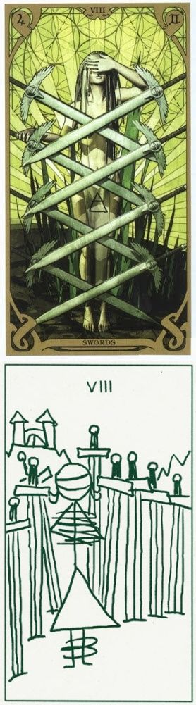 Eight of Swords: self-victimizing thoughts and recognizing your self-victimizing beliefs are holding you back (reverse). Night Sun Tarot deck and Stick Figure Tarot deck: free psychic reading, get a free tarot reading vs tarrot cards free. Best 2017 tarot reading tips and halloween food. #pentacle #devil #pagan #Wiccan #thesun #tarotcardstips