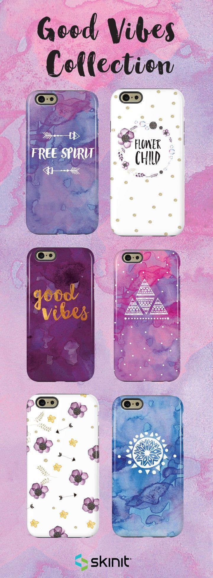 Good vibes only. Channel your inner bohemian spirit with our Good Vibes Collection. All designs are available as a case or skin for multiple devices. Select your device and shop the entire collection at www.skinit.com #SkinitMade
