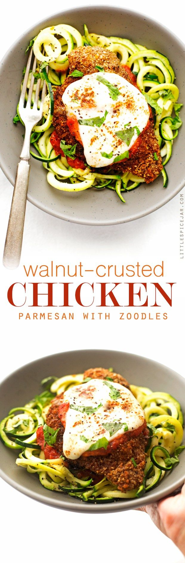 Walnut Crusted Healthy Chicken Parmesan with Zoodles - A healthier take on the…