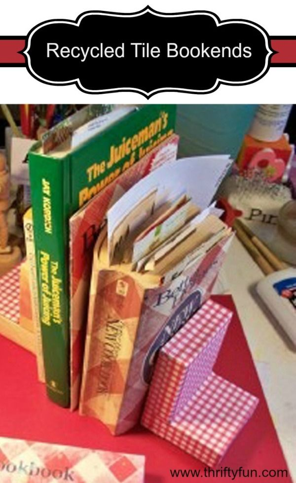 This is a guide about making recycled tile bookends. Using either new or leftover wall tiles, you can make a cute and inexpensive set of bookends.