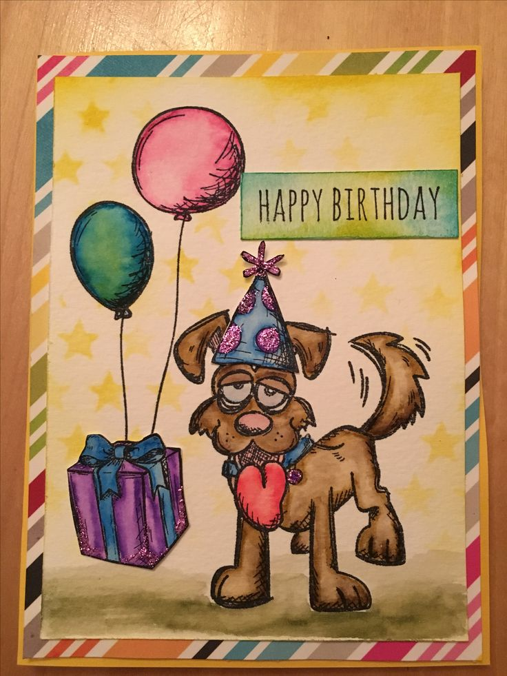 Crazy dog card, Tim Holtz stamp