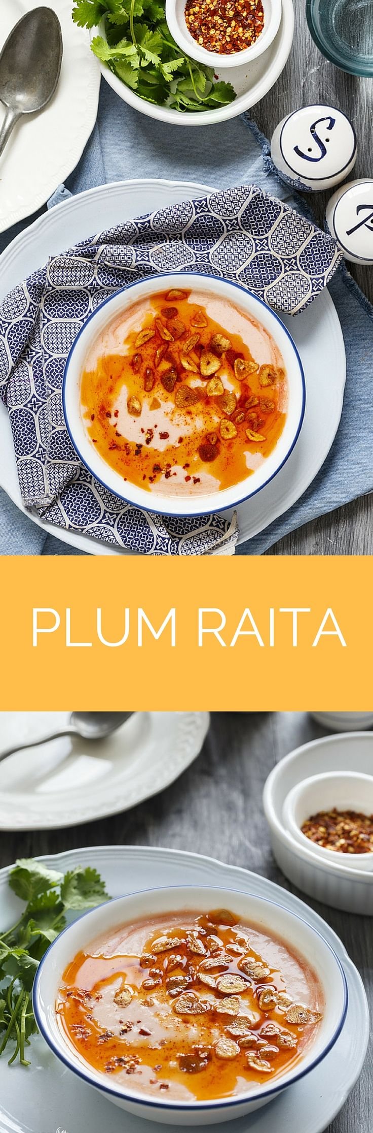 Plum Raita is Silken Smooth, Mild, Flavorsome with a little kick of garlic and a treat to palette. An Indian spread Party meal is incomplete without Biryani and Raita!! Serving along with plain yogurt is the easiest thing to do, but to serve with a little flavorable twist is that bit personal touch.