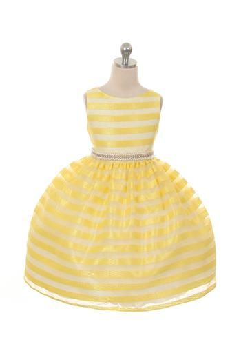 Organza dress with chenille fabric stripes. Comes with a detachable pearl gem sash. Colors: Peach, Lavender, Ivory, Yellow Sizes: 2-12 MADE IN USA