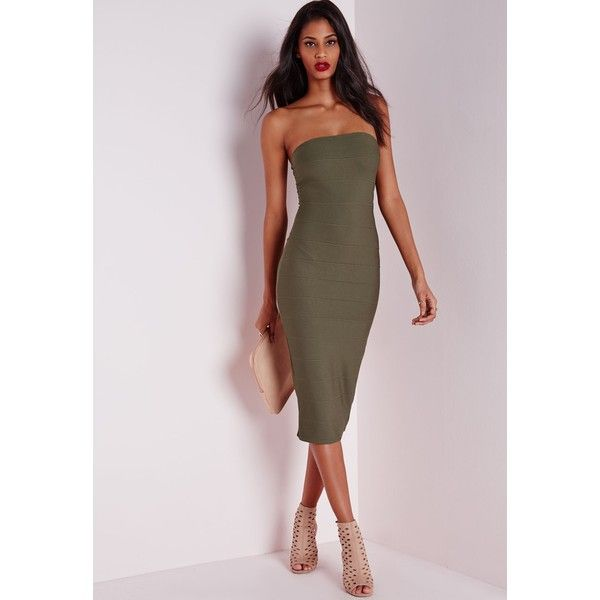 Missguided Strapless Bandage Bodycon Dress (140 PEN) ❤ liked on Polyvore featuring dresses, khaki, brown bodycon dress, body con dress, brown midi dress, brown dress and strapless dress