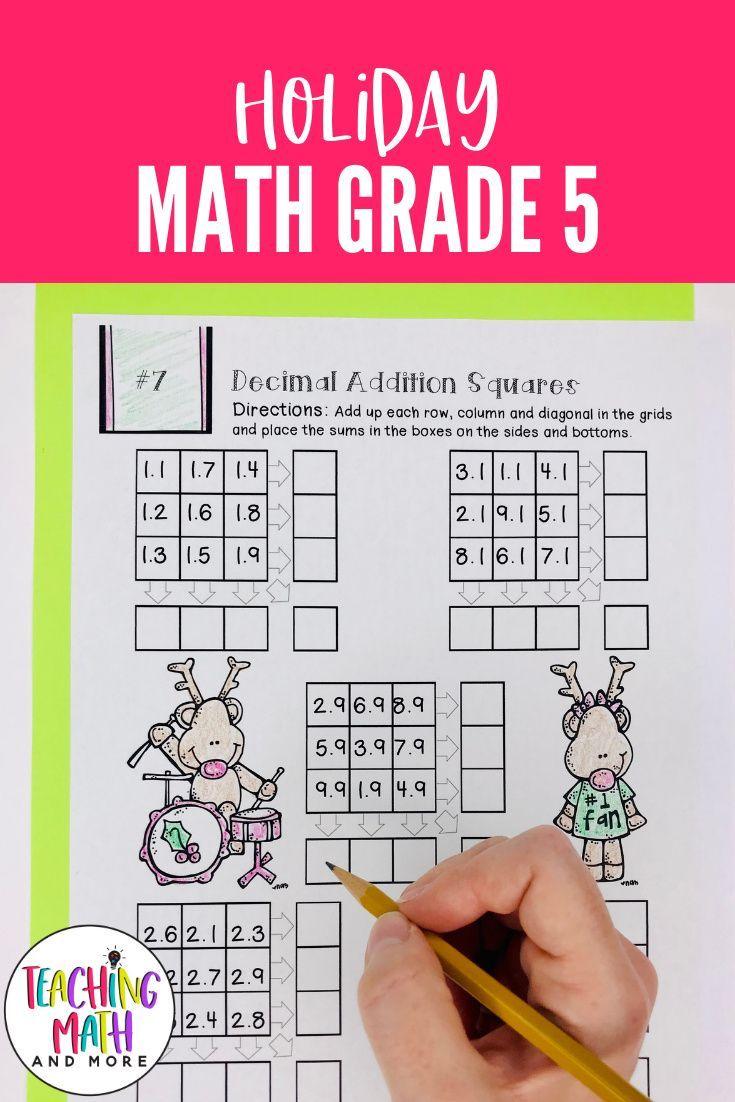 December Math Worksheets 5th Grade   Christmas Math Worksheets for 5th Grade  in 2020   Christmas math worksheets [ 1102 x 735 Pixel ]