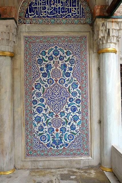 Tile ornamentation adorning exterior of Mausoleum of Murat III