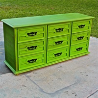 Green Vintage Dresser/ Bright Buffet/ Bedroom Furniture/ Distressed /Black  Drawer Pulls/