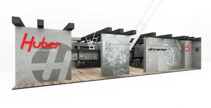 CERSAIRE, HUBER 2013 - Celá expozice je stylizována do interiéru továrny v šedivých a černých tónech s teplou dřevěnou podlahou. Design: Martin Tochaczek