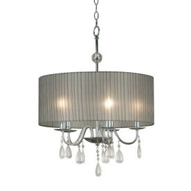 Kenroy Home 20-in W Arpeggio Chrome Crystal Accent Pendant Light with Fabric Shade