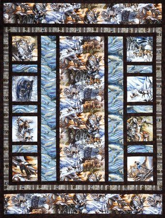 """Alaska's Wild Kingdom quilt is 65""""x86"""" and features Jody Bergsma's North American Wildlife collection. Kit includes all fabric for quilt top and binding as well as the pattern. (Click to enlarge photo) Retail Price : $110.95"""