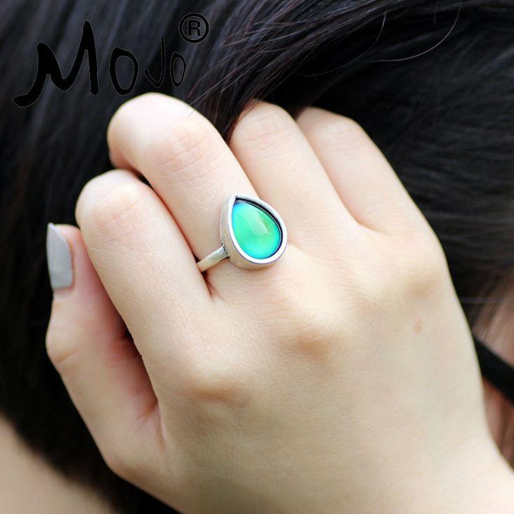 Fashion Boho Retro Vintage Stone Mood Rings Temperature Sensing Color Change Ring Big Rings for Women Men MJ-RS047