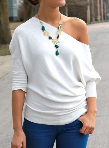 If tees are your thing, you'll love the easy styling of this white boat neck t-shirt. See more amazing items atFichic.com!