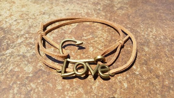 Brown Leather Bronze Fishing Hook Love Bracelet by WesanyCrafts