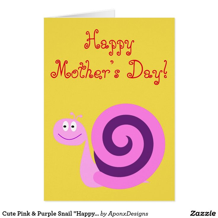 "Cute Pink & Purple Snail ""Happy Mother's Day"" Card"