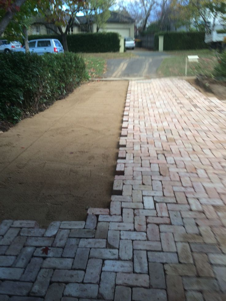 Block paving in progress using canberra red bricks for Garden design ideas canberra