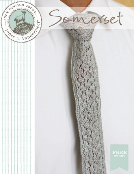 I love the stitch pattern - so·mer·set  ('suhm-er-set). noun [usu. as object]    a necktie knit in a lace pattern and backed with a contrasting fabric. Originally commissioned by a sartorial-minded friend of ours, who came to us with an idea for a necktie he couldn't find in stores. Maybe it will strike your fancy too!