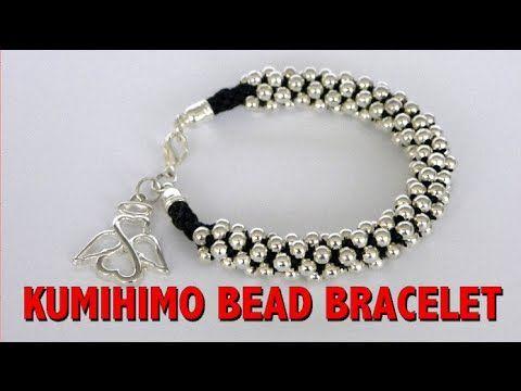 kumihimo bead - pulsera kumihimo con cuentas - YouTube