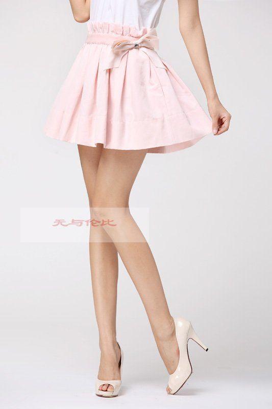 Baby Pink Light Pink Skirt Bow Skirt Porcelain High Heels Pumps