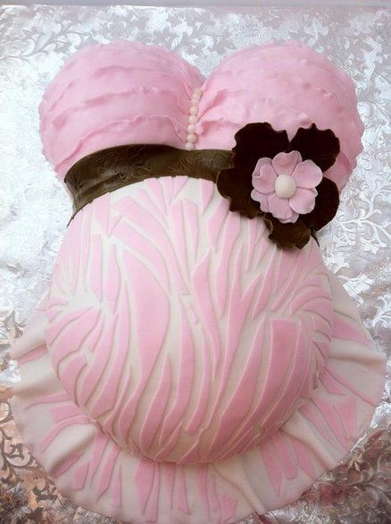 Ruffled zebra print belly cake ~ so pretty!